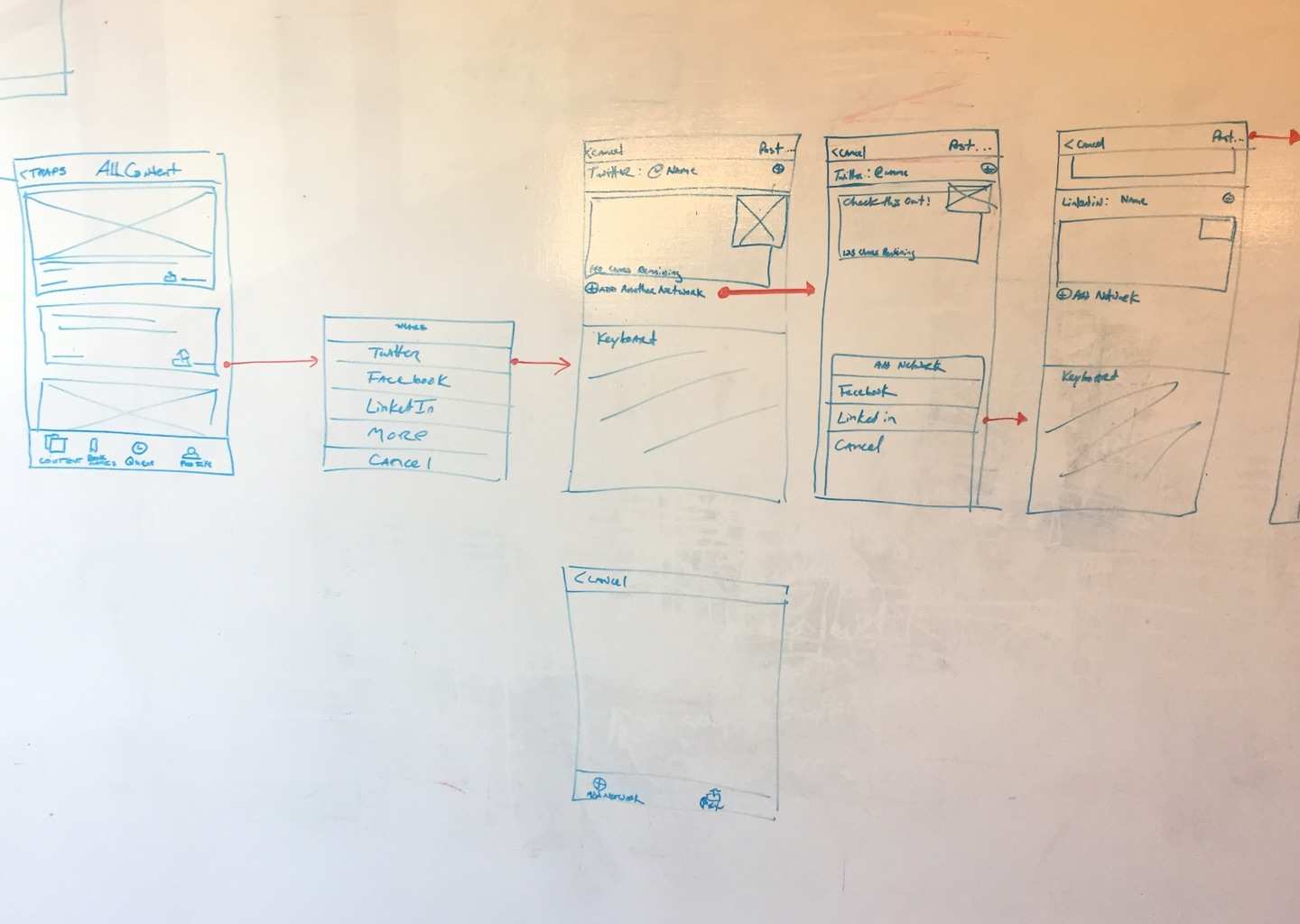 Whiteboards from an early session with my iOS engineer, Android Engineer, and product manager.